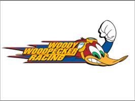 Title screen of Woody Woodpecker Racing on the Sony Playstation.