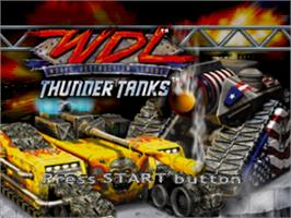 Title screen of World Destruction League: Thunder Tanks on the Sony Playstation.