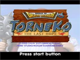 Title screen of World of Dragon Warrior: Torneko: The Last Hope on the Sony Playstation.