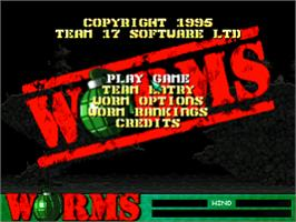 Title screen of Worms on the Sony Playstation.