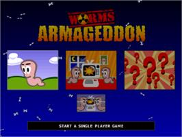 Title screen of Worms Armageddon on the Sony Playstation.
