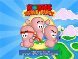 Title screen of Worms World Party on the Sony Playstation.