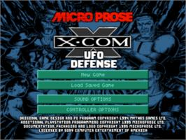 Title screen of X-COM: UFO Defense on the Sony Playstation.