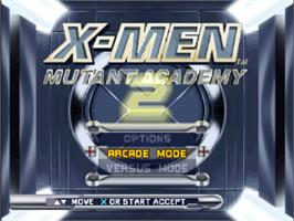 Title screen of X-Men: Mutant Academy 2 on the Sony Playstation.