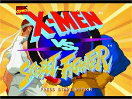 Title screen of X-Men vs. Street Fighter on the Sony Playstation.