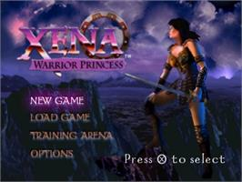 Title screen of Xena: Warrior Princess on the Sony Playstation.