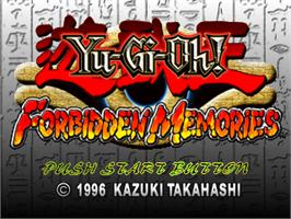 Title screen of Yu-Gi-Oh!: Forbidden Memories on the Sony Playstation.