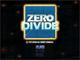Title screen of Zero Divide on the Sony Playstation.