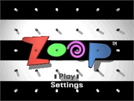 Title screen of Zoop on the Sony Playstation.