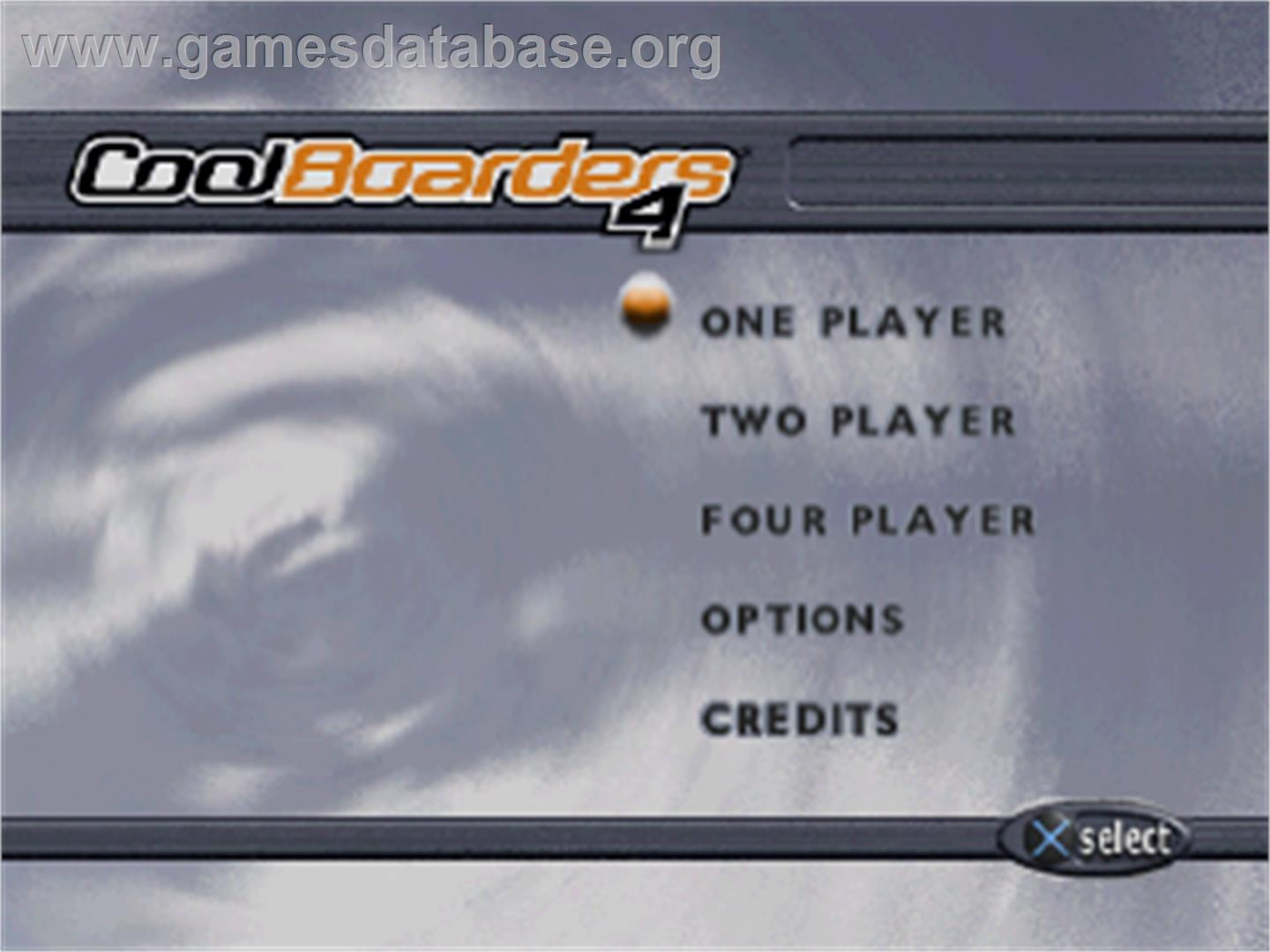 Title screen of Cool Boarders 4 on the Sony Playstation.