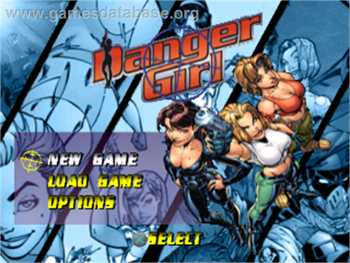 Title screen of Danger Girl on the Sony Playstation.