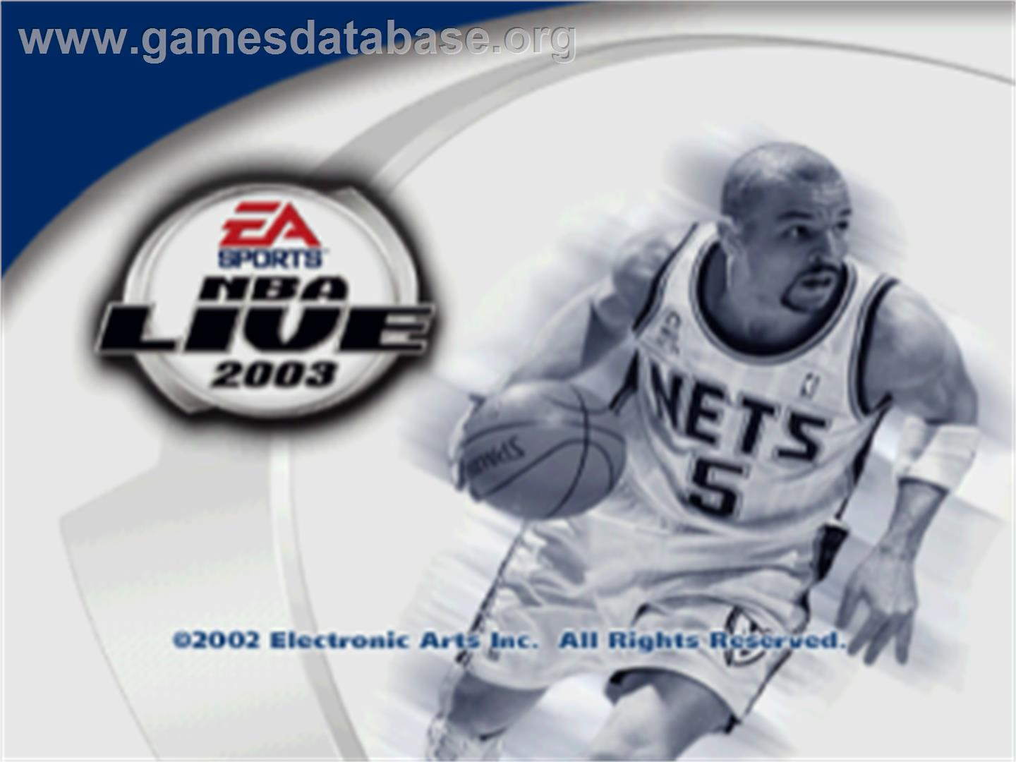 Title screen of NBA Live 2003 on the Sony Playstation.