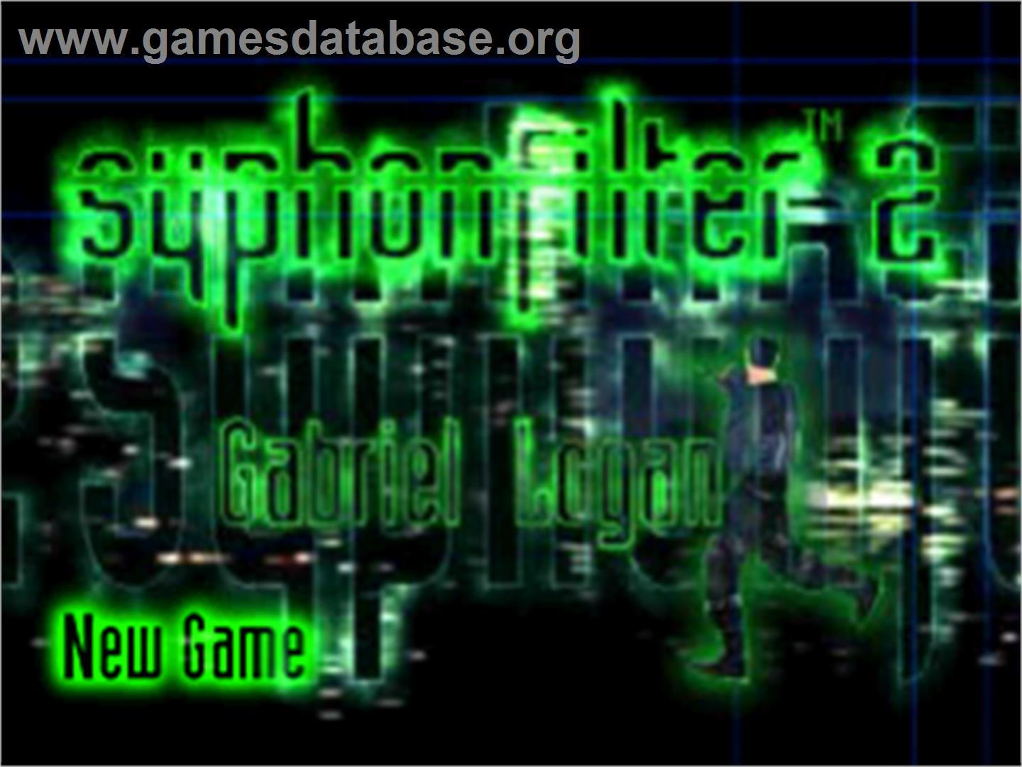Title screen of Syphon Filter 2 on the Sony Playstation.
