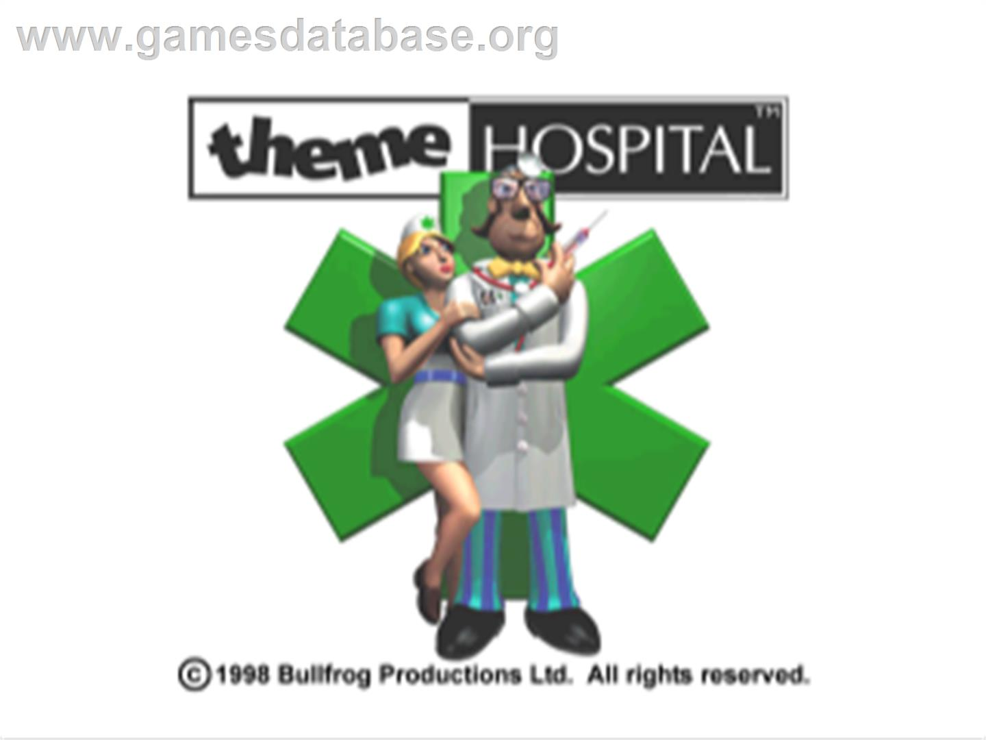 Title screen of Theme Hospital on the Sony Playstation.