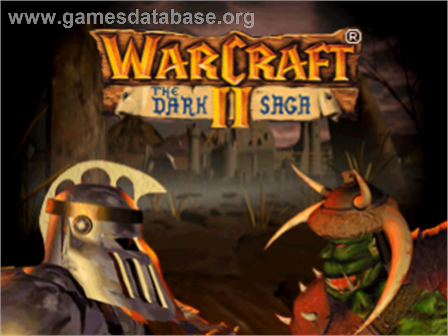 Title screen of Warcraft II: The Dark Saga on the Sony Playstation.