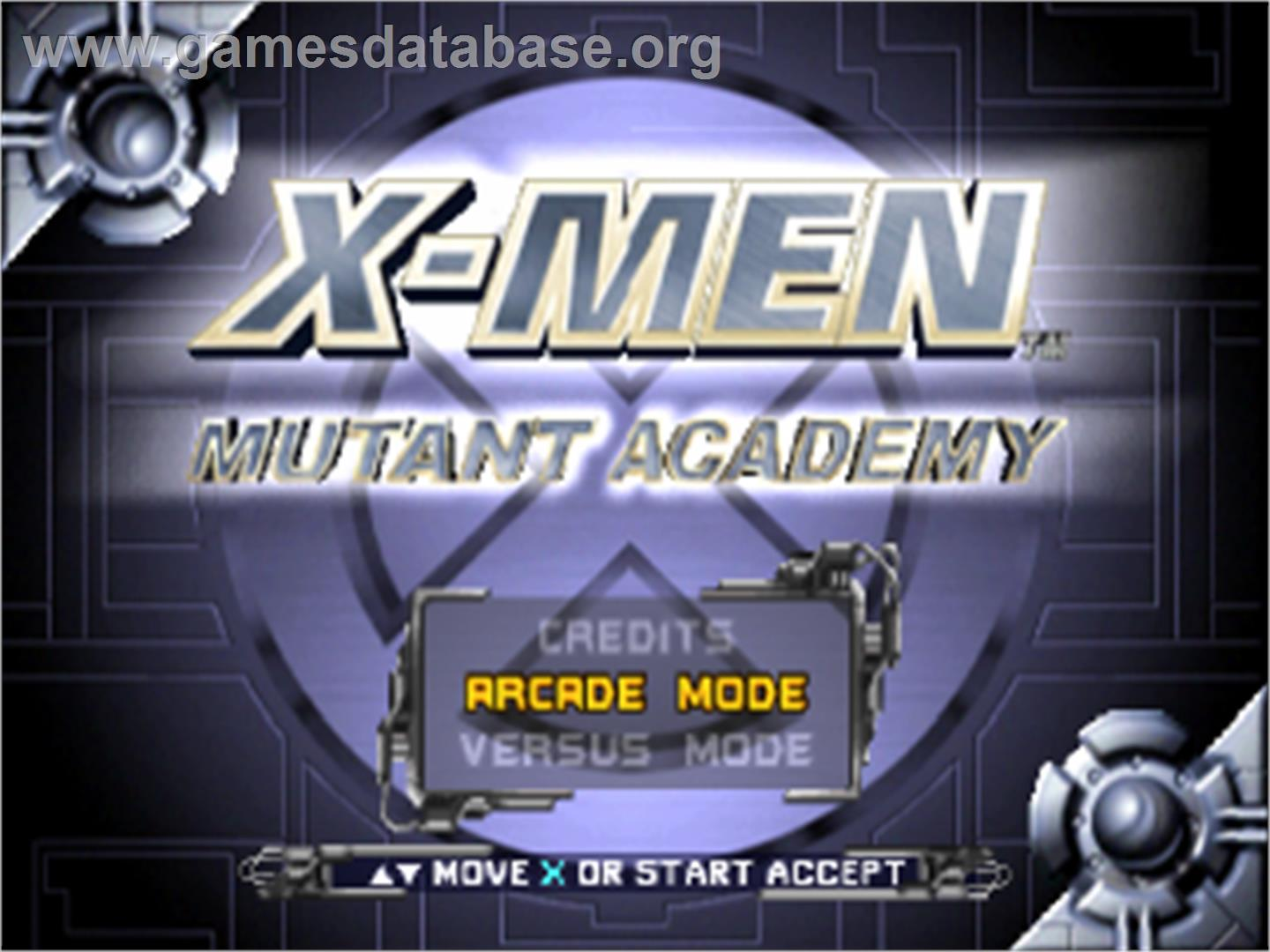 Title screen of X-Men: Mutant Academy on the Sony Playstation.