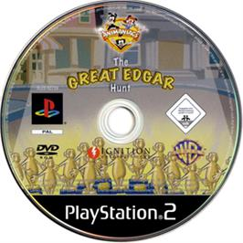 Artwork on the CD for Animaniacs: The Great Edgar Hunt on the Sony Playstation 2.