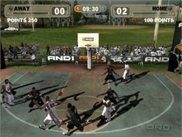 In game image of AND 1 Streetball on the Sony Playstation 2.
