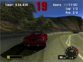 In game image of Burnout on the Sony Playstation 2.