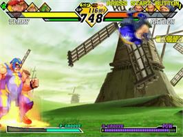 In game image of Capcom vs. SNK 2: Mark of the Millennium on the Sony Playstation 2.