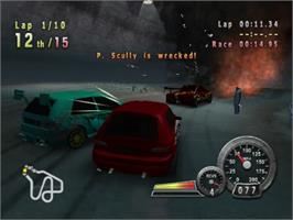 In game image of Crash 'n' Burn on the Sony Playstation 2.