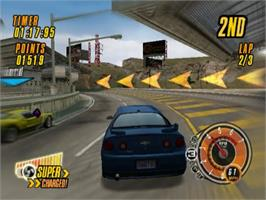 In game image of Ford Vs. Chevy on the Sony Playstation 2.