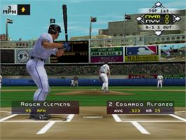 In game image of High Heat Major League Baseball 2002 on the Sony Playstation 2.