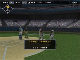 In game image of High Heat Major League Baseball 2003 on the Sony Playstation 2.