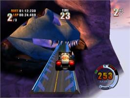 In game image of Hot Wheels: Stunt Track Challenge on the Sony Playstation 2.