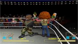 In game image of MTV Celebrity Deathmatch on the Sony Playstation 2.