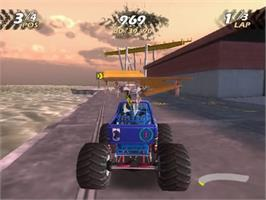 In game image of Monster Jam: Maximum Destruction on the Sony Playstation 2.