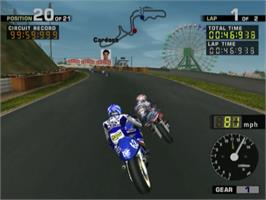In game image of MotoGP 2 on the Sony Playstation 2.
