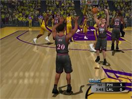 In game image of NBA 2K2 on the Sony Playstation 2.