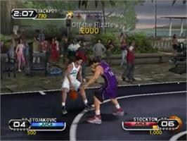In game image of NBA Ballers on the Sony Playstation 2.
