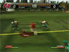In game image of NFL Street 3 on the Sony Playstation 2.