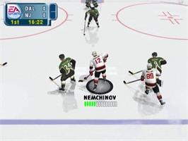 In game image of NHL 2001 on the Sony Playstation 2.