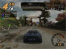In game image of Need for Speed: Hot Pursuit 2 on the Sony Playstation 2.