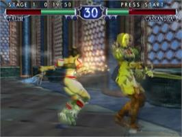 In game image of SoulCalibur 2 on the Sony Playstation 2.