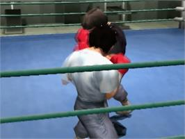 In game image of Victorious Boxers: Ippo's Road to Glory on the Sony Playstation 2.