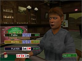 In game image of World Championship Poker on the Sony Playstation 2.