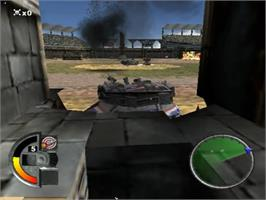 In game image of World Destruction League: Thunder Tanks on the Sony Playstation 2.