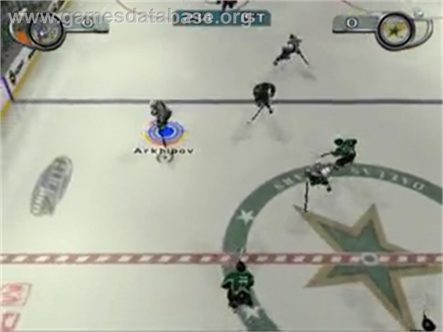 In game image of NHL Hitz Pro on the Sony Playstation 2.