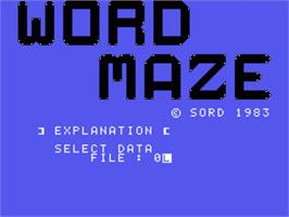 Title screen of Word Maze on the Sord M5.