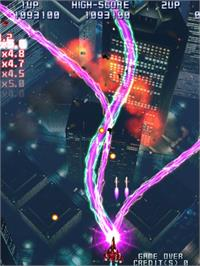 In game image of Raiden IV on the Taito Type X.