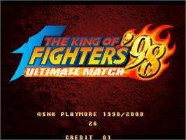 Title screen of King of Fighters 98 Ultimate Match on the Taito Type X.