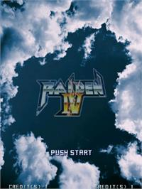 Title screen of Raiden IV on the Taito Type X.