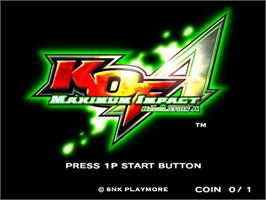 Title screen of KOF - Maximum Impact Regulation A on the Taito Type X2.