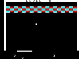 In game image of Breakout on the Tangerine Oric.