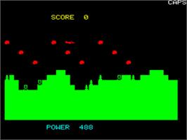In game image of Meteor Run on the Tangerine Oric.