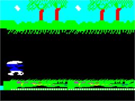 In game image of Schtroumpfs on the Tangerine Oric.